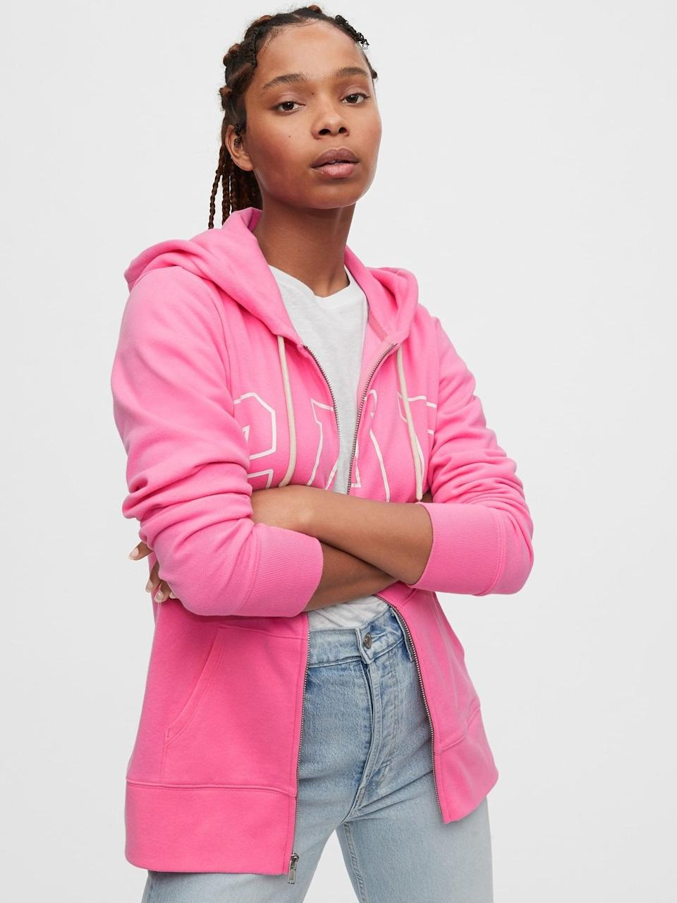 <p>This <span>Gap Logo Easy Hoodie</span> ($44, originally $60) will be perfect to throw on over dresses and tank tops!</p>