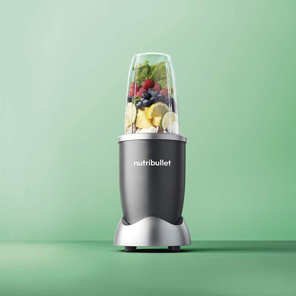 """Whip up smoothies, hummus, soup and other blended delicacies in a matter of minutes. Plus, clean-up is a breeze. Travel cup, no blender = one less thing to clean. This set includes the blender base, a tall cup, two short cups, a flat blade, an emulsifying blade, two resealable lids and a manual with recipes.<br /><br /><strong>Promising review:</strong>""""I've owned my Nutribullet for about two months now, and I still can't believe how amazing this product is!!! It makes getting healthy, nutritious food into your diet so incredibly easy.<strong>I can roll out of bed in the morning, grab an avocado, some nonfat plain yogurt, raw honey, flax seeds, and kale, blend up a delicious breakfast, AND clean everything up in less than 10 minutes.</strong>This blender is so seriously easy to clean. I love the cups that it comes with, too. It comes with a neat book full of recipes, although I haven't tried any yet... I'm still having too much fun making up my own recipes :) :) anyway, if you're on the fence about buying this product JUST DO IT :)"""" —<a href=""""https://www.amazon.com/dp/B07CTBHQZK?tag=huffpost-bfsyndication-20&ascsubtag=5883859%2C30%2C54%2Cd%2C0%2C0%2C0%2C962%3A1%3B901%3A2%3B900%3A2%3B974%3A3%3B975%3A2%3B982%3A2%2C16464284%2C0"""" target=""""_blank"""" rel=""""noopener noreferrer"""">Kira Wilhelm</a><br /><strong><br />Get it from Amazon for<a href=""""https://www.amazon.com/dp/B07CTBHQZK?tag=huffpost-bfsyndication-20&ascsubtag=5883859%2C30%2C54%2Cd%2C0%2C0%2C0%2C962%3A1%3B901%3A2%3B900%3A2%3B974%3A3%3B975%3A2%3B982%3A2%2C16464284%2C0"""" target=""""_blank"""" rel=""""noopener noreferrer"""">$85</a>.</strong>"""