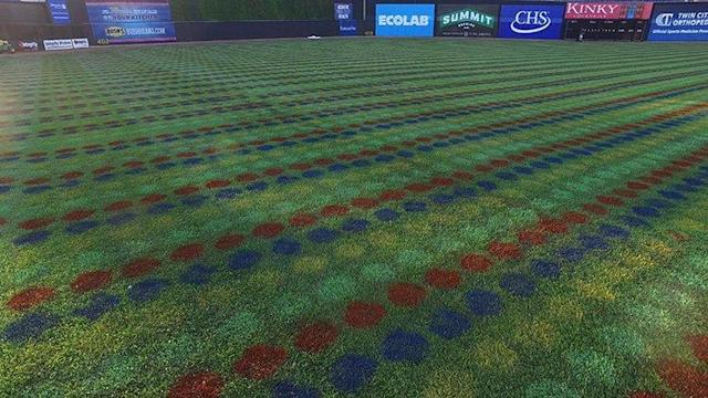 The St. Paul Saints painted 56,000 Twister dots on their baseball field. (@StPaulSaints)
