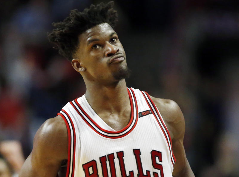 The Bulls traded Jimmy Butler to the Timberwolves for a package that included the No. 7 pick. (AP)