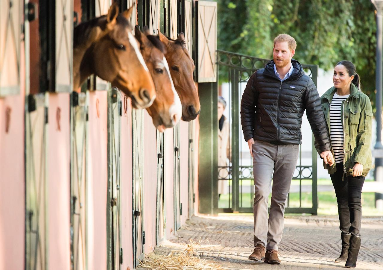 The couple posed for this sweet pic with horses while visiting the Moroccan Royal Federation of Equestrian Sports.