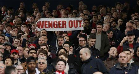 Britain Football Soccer - West Bromwich Albion v Arsenal - Premier League - The Hawthorns - 18/3/17 Arsenal fans with a 'Wenger Out' banner Action Images via Reuters / Andrew Boyers Livepic