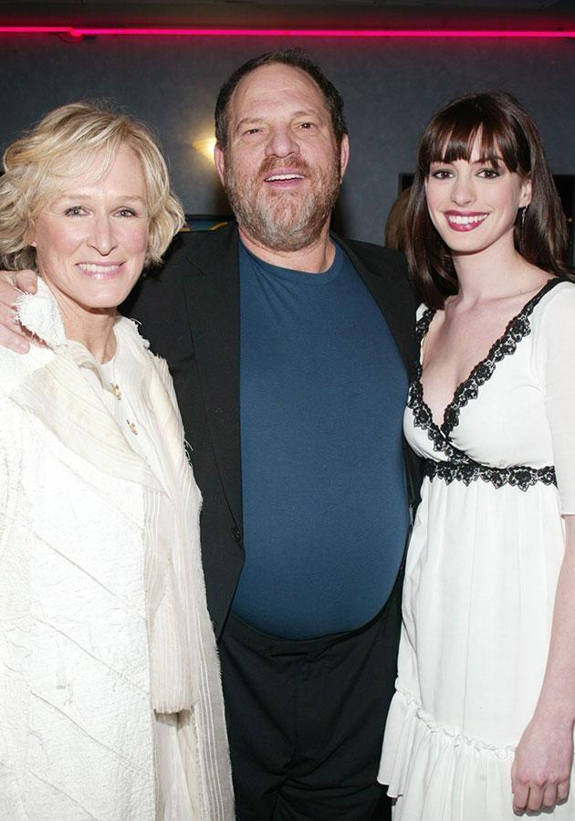 Glenn and Meryl are some of the biggest names to speak out against Harvey. The producer and actress with Anna Hathaway. Source: Getty