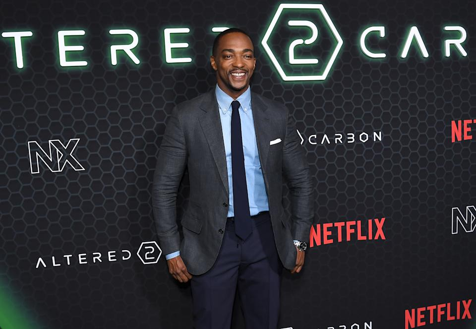 "NEW YORK, NEW YORK - FEBRUARY 24: Anthony Mackie attends  Netflix's ""Altered Carbon"" Season 2 Photo Call at AMC Lincoln Square Theater on February 24, 2020 in New York City. (Photo by Dimitrios Kambouris/Getty Images)"