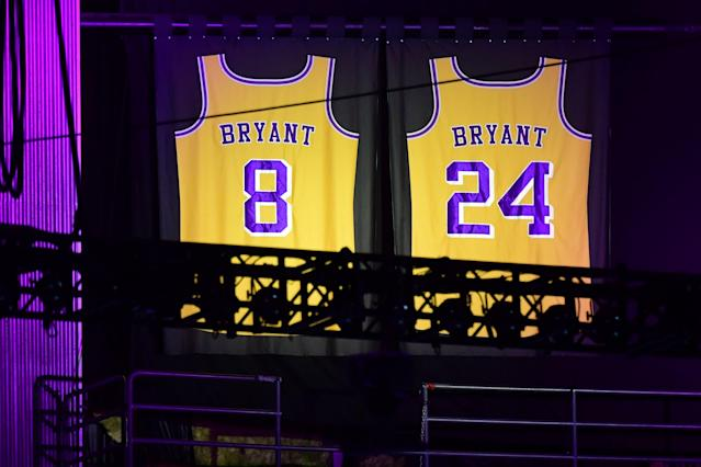 """Kobe Bryant's Lakers jerseys are displayed during the """"Celebration of Life for Kobe and Gianna Bryant"""" service at Staples Center in downtown Los Angeles on February 24, 2020. (Photo by Frederic J. Brown/AFP/Getty Images)"""