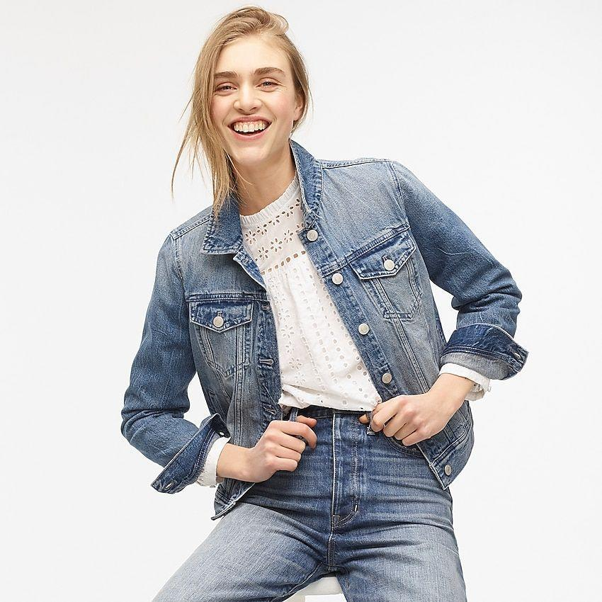 """<p><strong>J.Crew</strong></p><p>jcrew.com</p><p><strong>$110.00</strong></p><p><a href=""""https://fave.co/2V3H9L3"""" rel=""""nofollow noopener"""" target=""""_blank"""" data-ylk=""""slk:Shop Now"""" class=""""link rapid-noclick-resp"""">Shop Now</a></p><p>Prefer a classic denim jacket fit with a faded wash? Well, look no further because J. Crew has just what you need with its best-selling classic denim jacket in """"brilliant day wash."""" Featuring chest patch pockets with flaps and a pointed collar, this jacket is made from organic cotton and runs in <strong>inclusive sizing, starting at double extra small to triple extra large</strong>.</p>"""