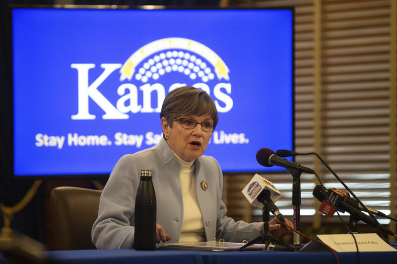 Kansas Gov. Laura Kelly speaks at a news conference to give updates on the COVID-19 outbreak Thursday, April 9, 2020 at the Statehouse in Topeka, Kan. (Evert Nelson/The Capital-Journal via AP]