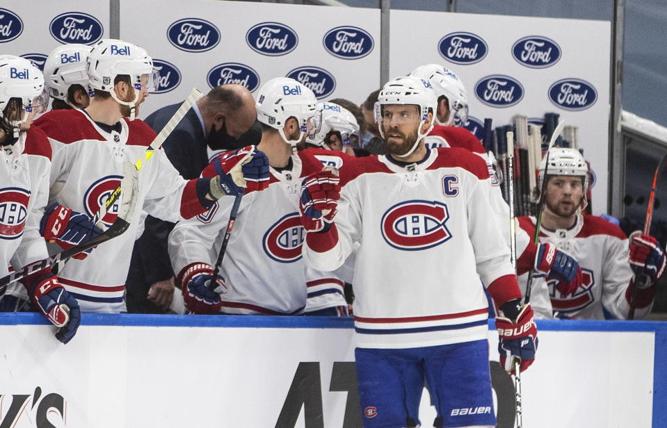 Montreal Canadiens' Shea Weber (6) celebrates a goal against the Edmonton Oilers during second-period NHL hockey game action in Edmonton, Alberta, Monday, Jan. 18, 2021. (Jason Franson/The Canadian Press via AP)