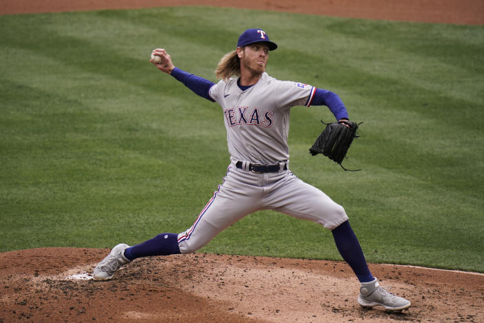 Texas Rangers starting pitcher Mike Foltynewicz throws against the Los Angeles Angels during the first inning of a baseball game, Wednesday, April 21, 2021, in Anaheim, Calif. (AP Photo/Jae C. Hong)