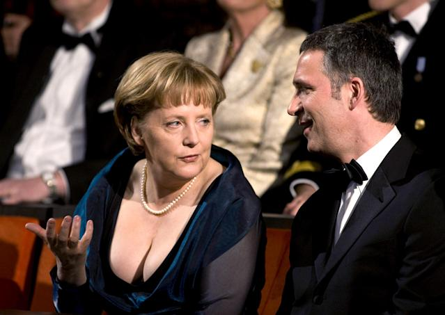 German Chancellor Angela Merkel and Norwegian Prime Minister Jens Stoltenberg speak on April 12, 2008, during the inauguration of a new opera house in Oslo. (Photo: Bjorn Sigurdson/AFP/Getty Images)