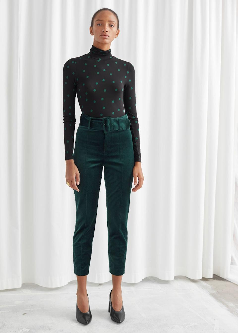 """<h3><a href=""""https://www.stories.com/en_usd/clothing/trousers/straight-trousers/product.belted-velvet-leggings-green.0585702004.html"""" rel=""""nofollow noopener"""" target=""""_blank"""" data-ylk=""""slk:& Other Stories Belted Velvet Leggings"""" class=""""link rapid-noclick-resp"""">& Other Stories Belted Velvet Leggings</a></h3><br>These dreamy velvet trousers secured a top-bought spot in our best of <a href=""""https://refinery29.com/en-us/2020/01/9211081/mlk-sales-fashion-clothing-martin-luther-king-jr-day-2020"""" rel=""""nofollow noopener"""" target=""""_blank"""" data-ylk=""""slk:MLK-weekend sale coverage"""" class=""""link rapid-noclick-resp"""">MLK-weekend sale coverage</a> — and are still selling strong with a sweet $40 price tag. <br><br><strong>& Other Stories</strong> Belted Velvet Leggings, $, available at <a href=""""https://www.stories.com/en_usd/clothing/trousers/straight-trousers/product.belted-velvet-leggings-green.0585702004.html"""" rel=""""nofollow noopener"""" target=""""_blank"""" data-ylk=""""slk:& Other Stories"""" class=""""link rapid-noclick-resp"""">& Other Stories</a>"""