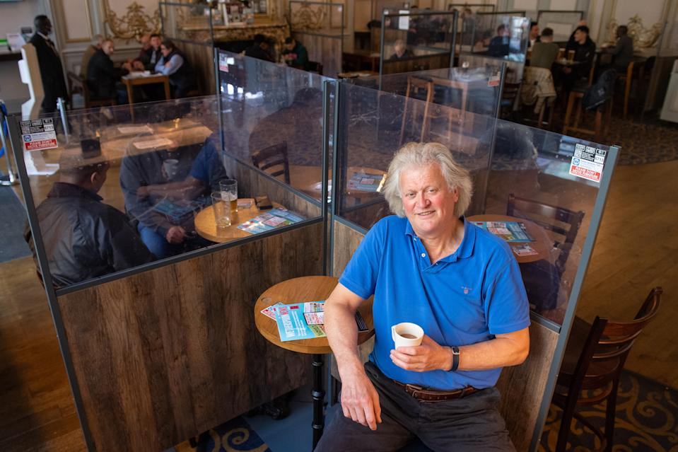 Founder and Chairman of JD Wetherspoon, Tim Martin, following a press conference in the Hamilton Hall pub, in central London, on publication of the pub chain's full year results. (Photo by Dominic Lipinski/PA Images via Getty Images)