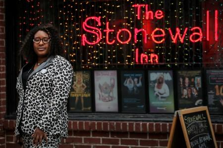 New York-based transgender rights activist Zannell poses outside The Stonewall Inn in New York