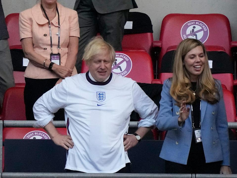 Johnson and his wife Carrie at the Euro 2020 championship semi-final (Getty)