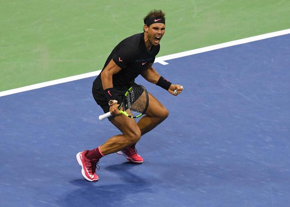 Rafael Nadal of Spain celebrates victory over Juan Martin del Potro of Argentina in their 2017 US Open Men's Singles semifinals match at the USTA Billie Jean King National Tennis Center in New York on September 8, 2017 (AFP Photo/DON EMMERT)