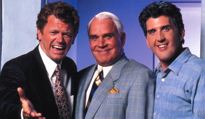 Higgins as Letterman, Rich Little as Johnny Carson and Roebuck as Leno in 'The Late Shift' (Photo: Courtesy Daniel Roebuck)