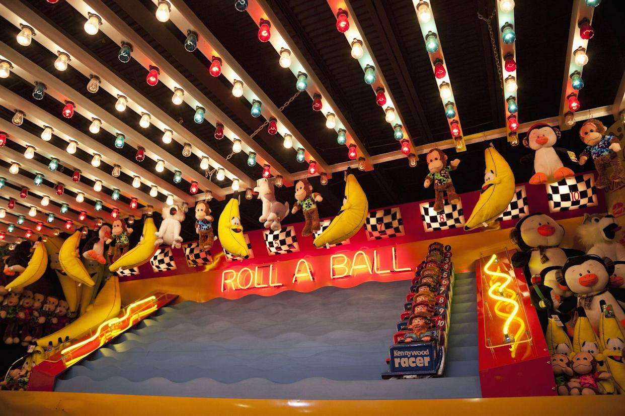 Pittsburgh, Pennsylvania, USA - July 26, 2011: Roll A Ball game booth at Kennywood, an amusement park founded in 1898.