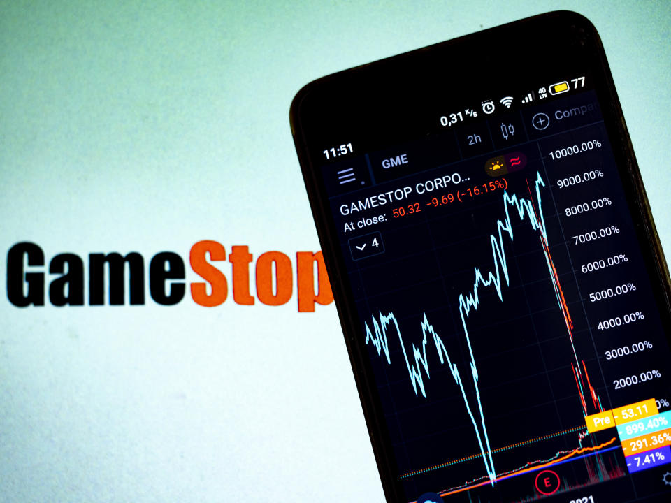 One of the silver linings to last month's GameStop rise and fall is now the conversation can turn toward the importance of responsible and easy investing. (Photo Illustration by Igor Golovniov/SOPA Images/LightRocket via Getty Images)