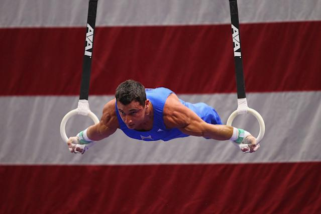 ST. LOUIS, MO - JUNE 7: Brandon Wynn competes on the rings during the Senior Men's competition on day one of the Visa Championships at Chaifetz Arena on June 7, 2012 in St. Louis, Missouri. (Photo by Dilip Vishwanat/Getty Images)