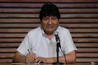 Bolivian ex-president Evo Morales hosts a press conference in Buenos Aires on October 19, 2020 a day after Bolivia held presidential elections with his hand-picked candidate Luis Arce winning the vote