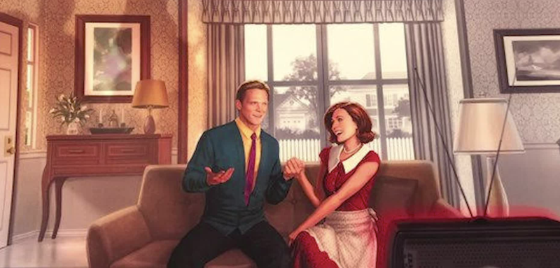 Promotional poster for 'WandaVision' unveiled at D23 emphasizes show's 1950s sitcom vibe. (Photo: Marvel/Disney)