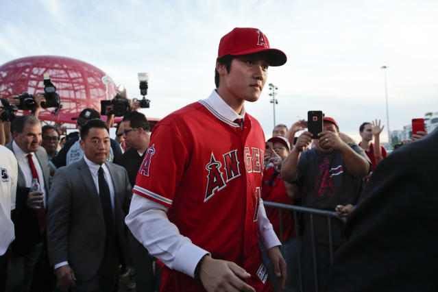 Shohei Ohtani has a first-degree sprain of his right UCL, according to a medical report. (AP)