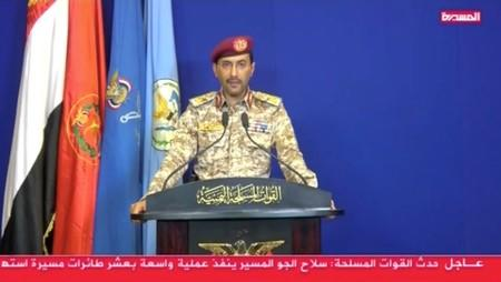 A still image from video footage shows Houthi Military Spokesman, Yahya Sarea announces the group's responsibility for the attacks on Aramco facility in the eastern city of Abqaiq, taken from a video broadcasted in Sanaa