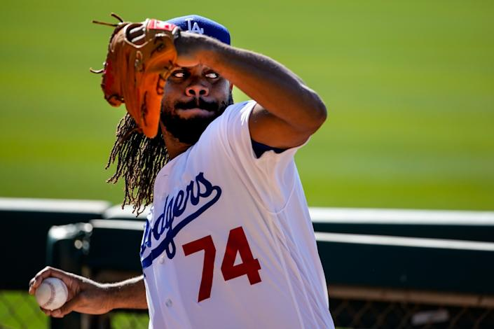 """Kenley Jansen pitches during spring training at Camelback Ranch on Feb. 20. <span class=""""copyright"""">(Kent Nishimura / Los Angeles Times)</span>"""