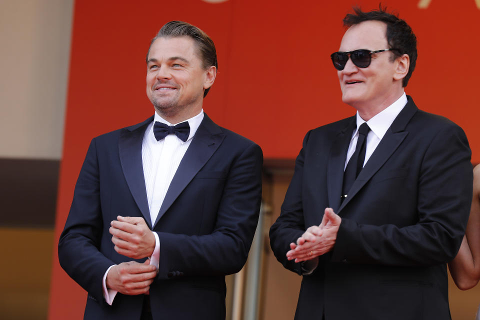 "Leonardo DiCaprio and Quentin Tarantino at the premier red carpet for ""Once Upon A Time In Hollywood"" during the 72nd Cannes Film Festival at the Palais des Festivals on May 21, 2019 in Cannes, France. (Photo by: P. Lehman) (Photo credit should read P. Lehman / Barcroft Media via Getty Images)"