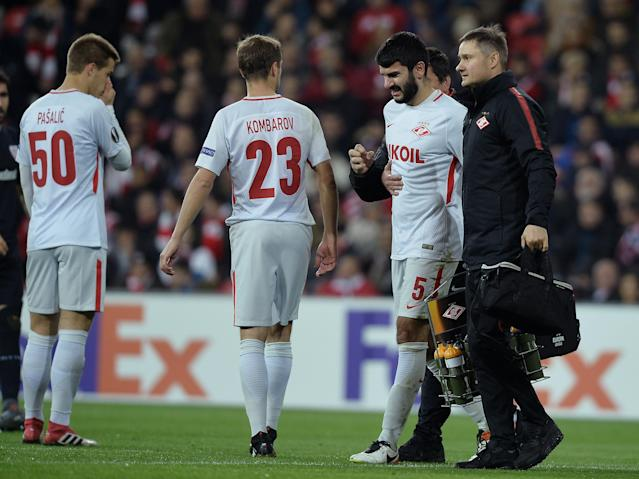 Soccer Football - Europa League Round of 32 Second Leg - Athletic Bilbao vs Spartak Moscow - San Mames, Bilbao, Spain - February 22, 2018 Spartak Moscow's Serdar Tasci walks off after receiving medical treatment REUTERS/Vincent West