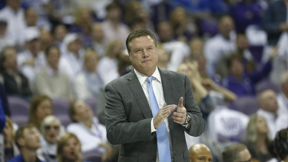 Kansas head coach Bill Self looks on against TCU during the second half of an NCAA college basketball game, Saturday, Feb. 8, 2020 in Fort Worth, Texas. Kansas won 60-46. (AP Photo/Ron Jenkins)