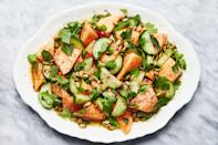 """This savory fruit salad is spiced up with Fresno chiles, cardamom, and coriander. You may end up licking the plate. <a href=""""https://www.epicurious.com/recipes/food/views/savory-cantaloupe-and-cucumber-fruit-salad?mbid=synd_yahoo_rss"""" rel=""""nofollow noopener"""" target=""""_blank"""" data-ylk=""""slk:See recipe."""" class=""""link rapid-noclick-resp"""">See recipe.</a>"""