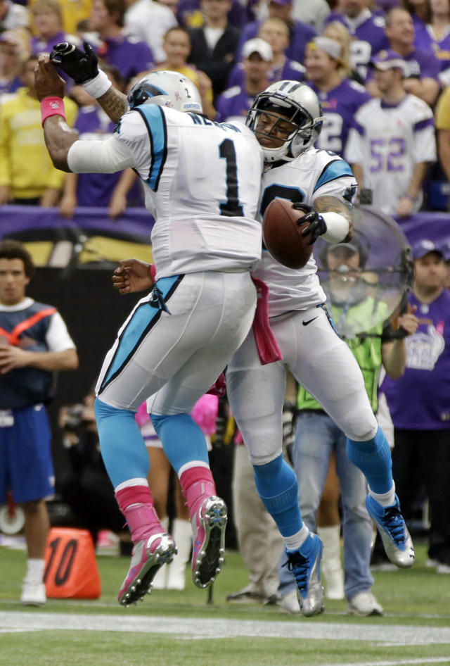 Carolina Panthers quarterback Cam Newton, (1) and wide receiver Steve Smith celebrate a touchdown pass to Smith during the first half of an NFL football game in Minneapolis, Sunday, Oct. 13, 2013. (AP Photo/Jim Mone)