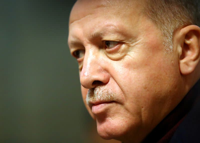 Turkey's President Recep Tayyip Erdogan leaves after the Global Refugee Forum at the United Nations in Geneva