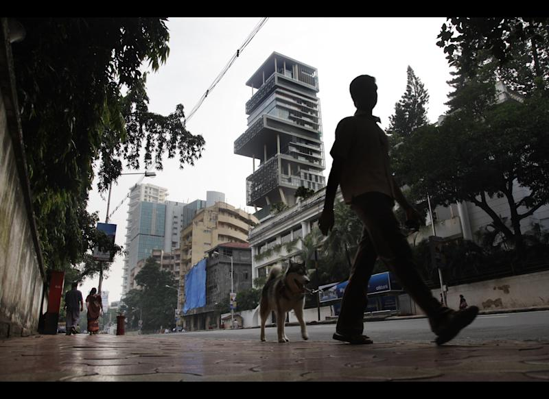 The house of Indian businessman Mukesh Ambani, Chairman of Reliance Industries, is seen October 23, 2010 in Mumbai, India. The 27-story house allegedly cost over one billion USD to be built.