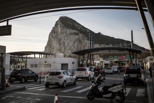 A file image of the border between Spain and Gibraltar (AP/Javier Fergo)