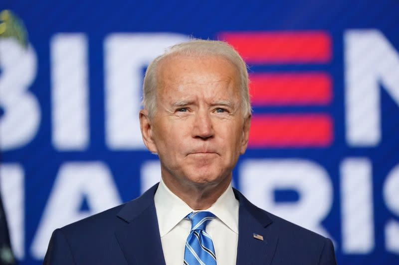 Democratic U.S. presidential nominee Biden speaks about 2020 the presidential election in Wilmington, Delaware