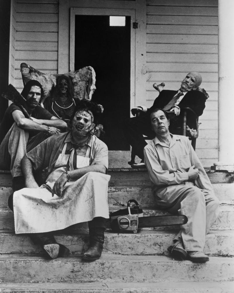 Actors Gunnar Hansen (front left) as Leatherface, Jim Siedow (front right) as Old Man, John Dugan (back right) as Grandfather and Edwin Neal (back left) as Hitchhiker in a publicity shot for the slasher film 'The Texas Chain Saw Massacre, 1974. (Photo by Silver Screen Collection/Getty Images)