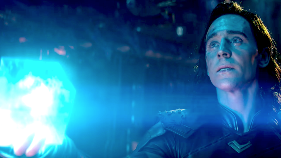 Loki holds the Tesseract--which holds the Space Stone--in Avengers: Infinity War