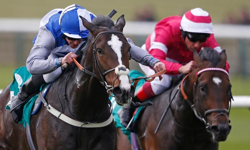 Eminent, left, ridden by Jim Crowley, wins the Craven Stakes at Newmarket