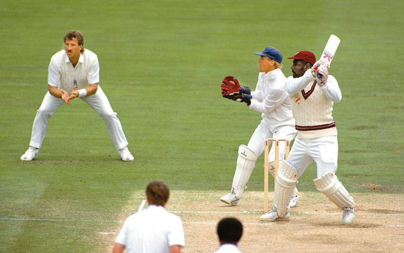 West Indies captain Viv Richards batting in his last Test match, with his great friend Ian Botham fielding - This content is subject to copyright.