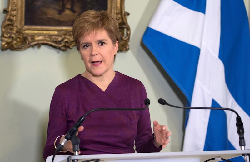Scottish National Party (SNP) leader and Scotland's First Minister Nicola Sturgeon speaks during a statement at Bute House in Edinburgh, Scotland, Britain December 19, 2019. Neil Hanna/Pool via REUTERS