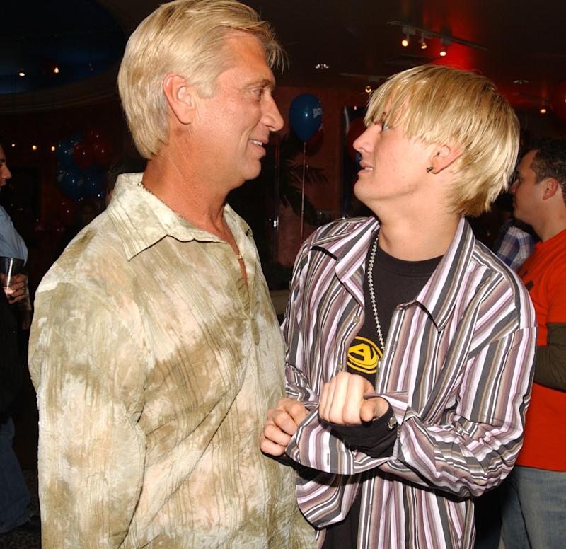 Robert Carter and Aaron Carter during Planet Hollywood Hosts Aaron Carter's and Angel Carter's 17th Birthday Bash at Planet Hollywood in Las Vegas, Nevada. (Photo by Denise Truscello/WireImage)
