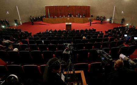 General view of Brazil's Supreme Electoral Court (TSE) plenary is seen during a meeting at the Supreme Electoral Court (TSE) to debate whether to annul the Rousseff-Temer ticket in the 2014 election for receiving illegal campaign donations, in Brasilia, Brazil April 4, 2017. REUTERS/Ueslei Marcelino