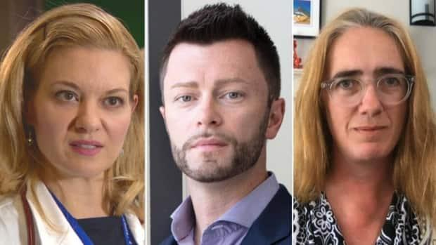 Doctors and scientists, like Dr. Lynora Saxinger, left, Dr. Daniel Niven, middle, and Caroline Colijn, right, are warning that Alberta could be in trouble should the province move ahead with its staged re-opening next week. (CBC News/Erin Brooke Burns - image credit)
