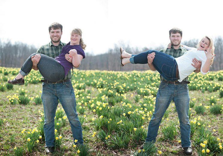 Will with his fiancée, Ashley, right; with her sister Hannah, left. (Photo: Bret and Brandie Photography)