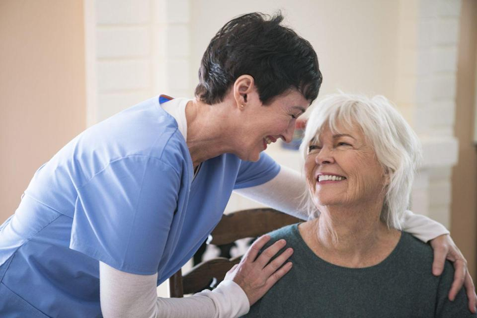 """<p>Caregivers are the ones we trust to provide critical air to our later in life loved ones when they so desperately need it. Though COVID-19 caused nearly the entire world to shutter their windows and close down, our caregivers continue to put themselves on the lines to protect the sick and elderly across the country. <a href=""""https://www.google.com/amp/s/abc7ny.com/amp/nyc-mta-bus-drivers-eyewitness-news-exclusive-coronavirus-reopen/6183979/"""" rel=""""nofollow noopener"""" target=""""_blank"""" data-ylk=""""slk:Elizabeth Peachy"""" class=""""link rapid-noclick-resp"""">Elizabeth Peachy</a>, a home health aide in West Virginia, recalls being given little to no PPE and expected to continue work as usual. She goes on to say that she kept working through the pandemic despite the risk because she's garnered such love for her work and the patients she impacts everyday.</p>"""