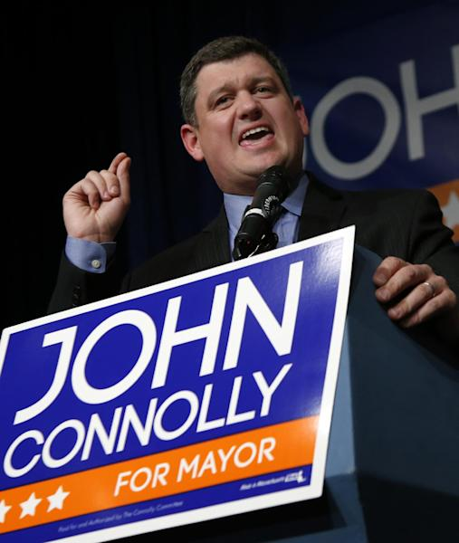 Boston Mayoral hopeful John Connolly speaks to supporters at his primary election night party in Boston, Tuesday, Sept. 24, 2013. The top two vote-getters in the preliminary election move on to compete in the Nov. 5 final. Current Boston Mayor Thomas Menino announced earlier this year that he would retire after more than 20 years in office. (AP Photo/Elise Amendola)