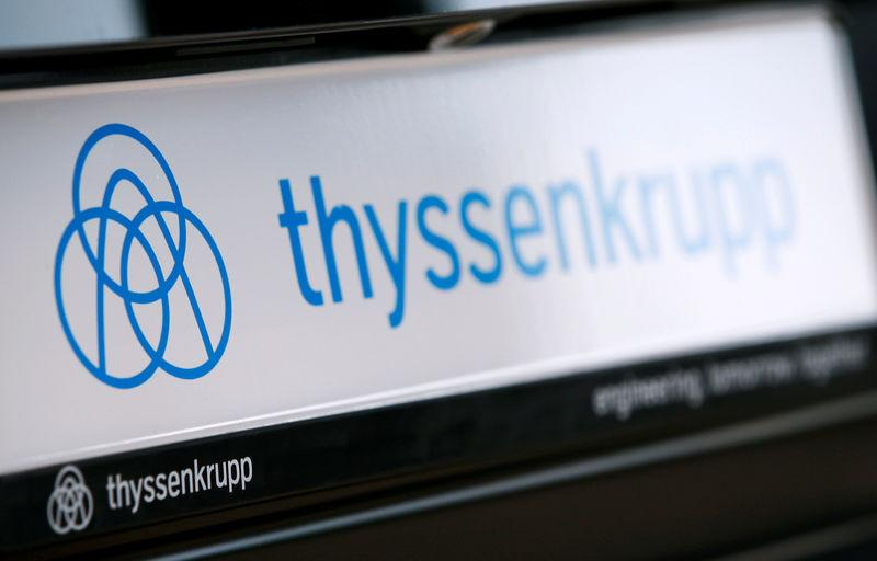 FILE PHOTO: The logo of German steel-to-elevators group ThyssenKrupp AG is pictured during the company's annual news conference in Essen
