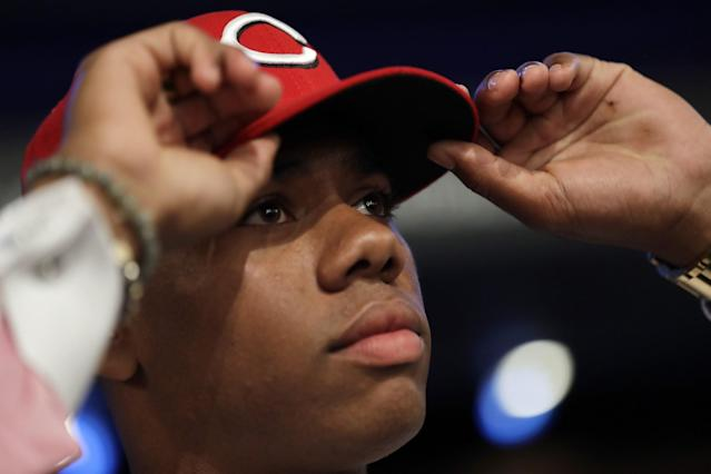 With the second overall pick, the Cincinnati Reds chose Hunter Greene, a California right-hander. (AP Images)